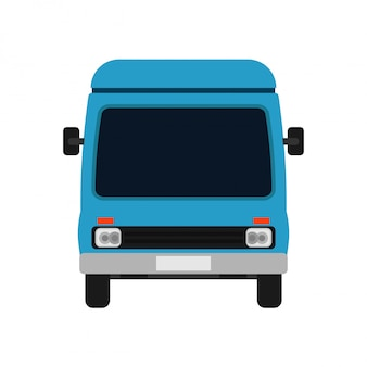Van blue vooraanzicht illustratie auto