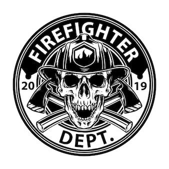 Van brandweerman schedel embleem ontwerp
