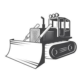 Van bulldozer. zwart en wit