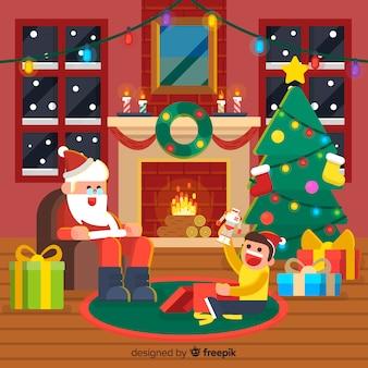 Van de achtergrond kerstmisopen haard santa met jong geitje
