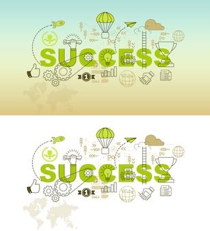 Van de achtergrond succesbanner ontwerpconcept