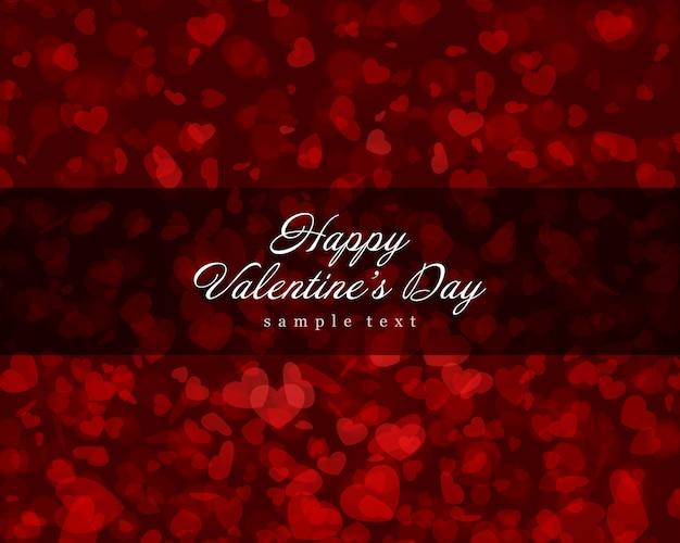 Van de achtergrond valentijnskaartendag gloeiende en vliegende hartenconfettien met plaats voor wens vectorillustratie