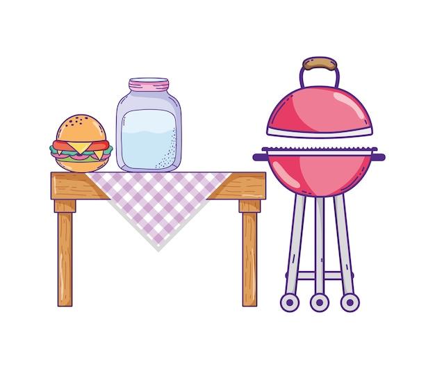 Van de de beeldverhalen het vectorillustratie van het de zomervoedsel grafische ontwerp
