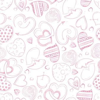 Van de de handtekening van de ballpoint de harten naadloos patroon