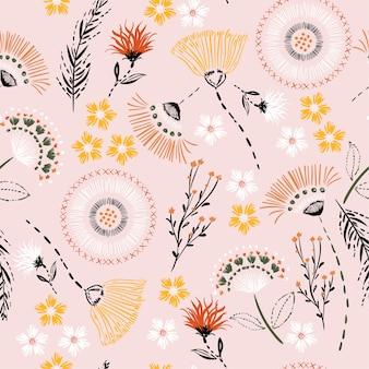 Van de de handtekening van het pastelkleur de naadloze patroon bloemen van de de schetslijn