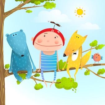 Van de de kinderjarenzitting van kind dierlijke vrienden de boomtak in hemel