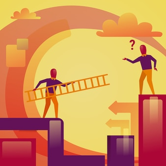 Van de de ladderhulp van de bedrijfsmensenholding het bedrijfs van de collega steunconcept