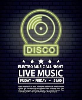 Van de de muziekuitnodiging van de disco elektromuziek de neonlichtenkleuren