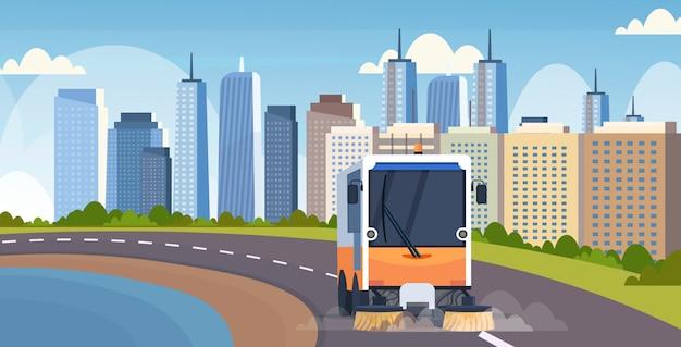 Van de de vrachtwagenmachine van de straatvegermachine het schoonmakende van de het voertuig stedelijke weg van het proces industriële voertuig concept moderne cityscape vlakke horizontale als achtergrond