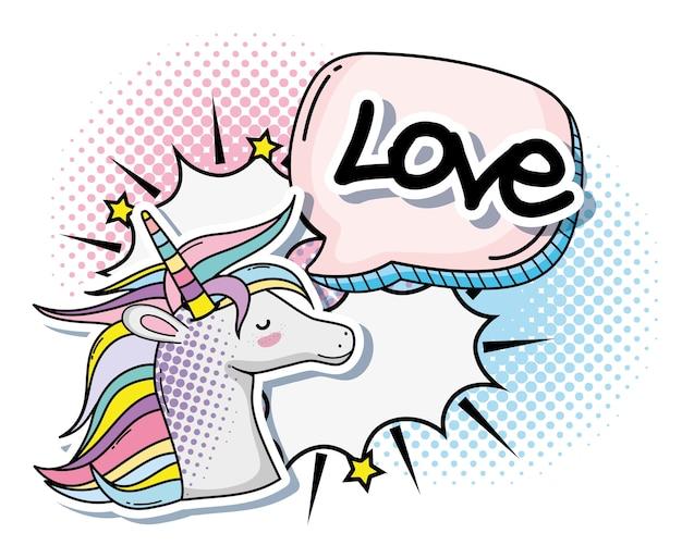 Van de het fantasiebeeldverhaal van de pop-art leuk eenhoorn vector de illustratie grafisch ontwerp