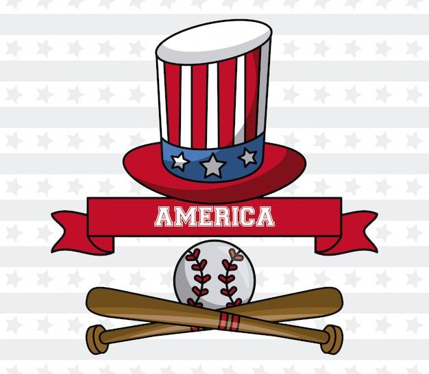 Van de het honkbalsport van de vs de oom van de oom sam hoed en de knuppels met grafisch de illustratie grafisch ontwerp van het balembleem