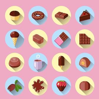 Van de het voedselbar van het chocoladeroomijs zoete vlakke pictogrammen geplaatst geïsoleerde vectorillustratie