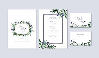 Van de waterverfbosbessen en bloemen Huwelijksuitnodiging