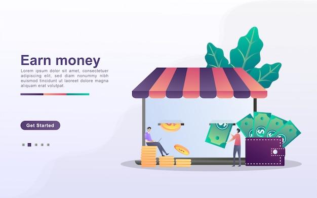 Van earn money concept, ontvang geldprijzen van e-commerce, beloningsprogramma's voor klanten.