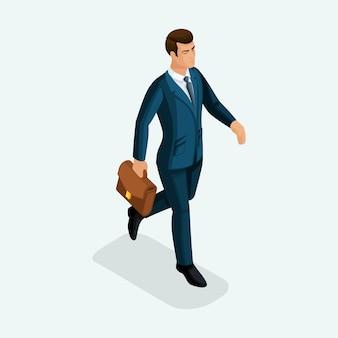 Van een jonge zakenman gaat vooruit, het bedrijf praat op telefoon en tablet. de emotionele gebaren van de mensen