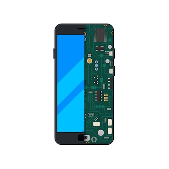 Van elektronisch circuit van mobiele telefoon of smartphone.