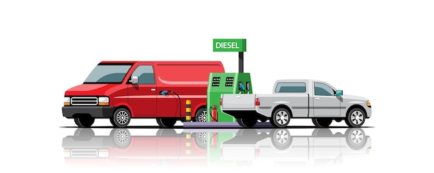 Van en pick-up parkeerplaats tot tanken bij diesel tankstation