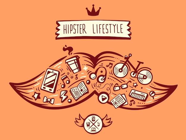 Van grote snor van hipster levensstijl