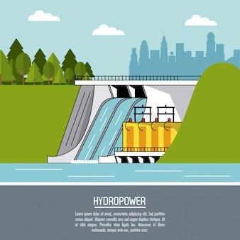 Van het achtergrond kleurenlandschap waterkrachtcentrale duurzame energie