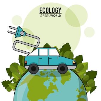 Van het de autovoertuig van de ecologie het groene wereld vervoer elektrische concept