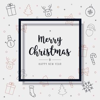 Van het de elementenkaart van kerstmispictogram van de de groetkaart de tekst