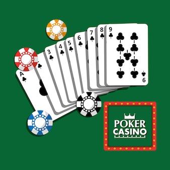 Van het het casinouppraatje van de pook de affichekaarten en de spaandersfortuin gokken