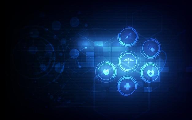 Van het het patroon medisch innovatieconcept van het gezondheidszorgpictogram ontwerp als achtergrond ontwerp