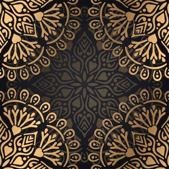 Van het mandala naadloos patroon ontwerp als achtergrond in zwarte en gouden kleur