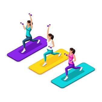 Van het meisje maakt een longing met halters, atleten in heldere mooie pakken, fitness, gym. gezonde levensstijl