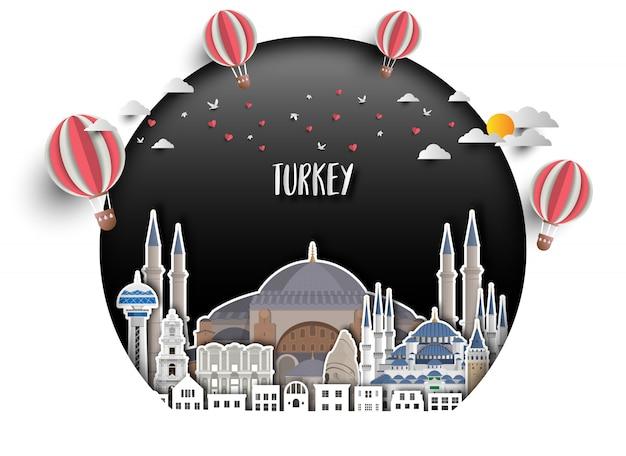 Van het oriëntatiepunt globale reis van turkije en reisdocument achtergrond.