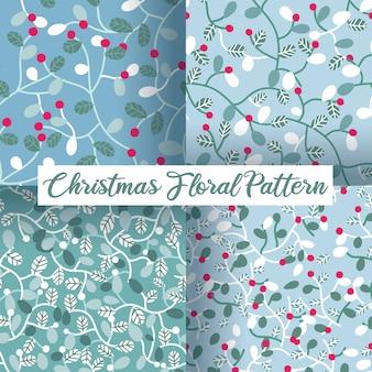 Van kerstmisbessen en bladeren naadloze patroonreeks