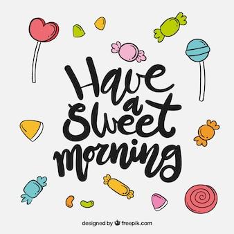 Van letters voorziende achtergrond met inspirerend bericht en suikergoed