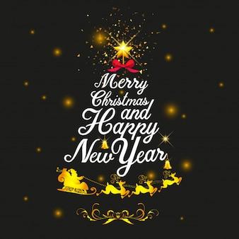 Van letters voorziende boom vrolijke kerstmis en gelukkig nieuw jaar