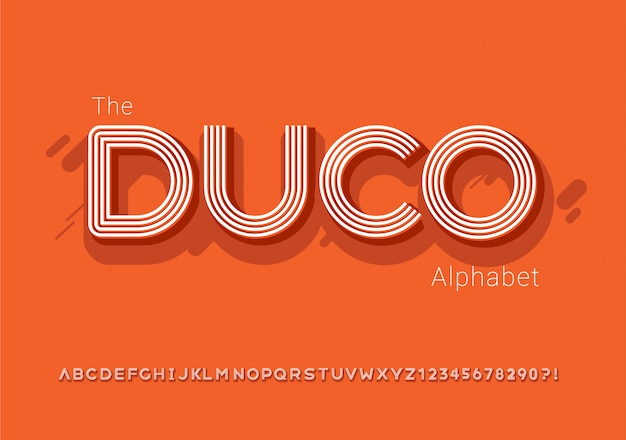 Van moderne vet lettertype met retro lijnstijl en alfabet -