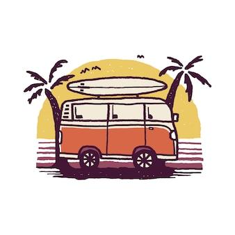 Van nature camping adventure summer beach grafische illustratie