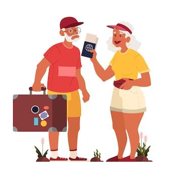 Van oudere toerist met bagage en handtas. oude man en vrouw met koffers. verzameling oude karakters op hun reis. reizen en toerisme concept