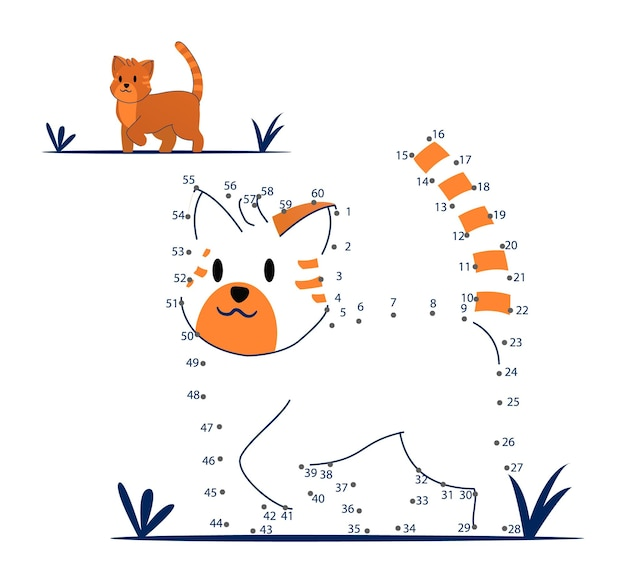 Van punt naar punt spel voor kinderen thuisonderwijs. kleurplaat voor kinderen onderwijs. nummer tekenlijn puzzelspel. wiskunde activiteit, taak huiswerk studie. thuisonderwijs vectorillustratie.