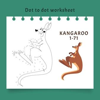 Van punt naar punt werkblad met kangoeroe