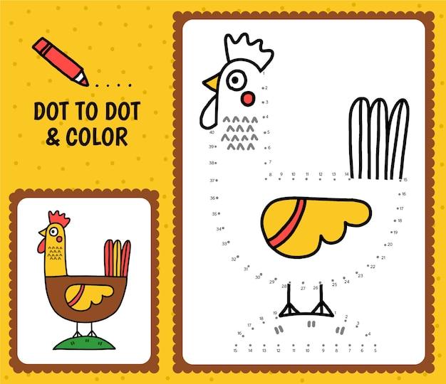 Van punt naar punt werkblad met kip
