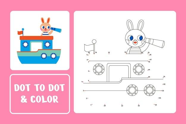 Van punt naar punt werkblad met konijn