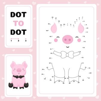 Van punt naar punt werkblad met schattig varken