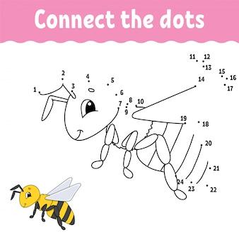 Van punt tot punt. teken een lijn. handschrift praktijk. getallen leren voor kinderen.