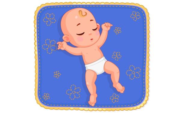 Van schattige baby slaapt op baby mat