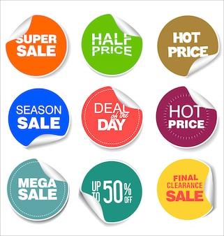 Van verkoop kleurrijke kentekens en stickers ontwerpillustratie
