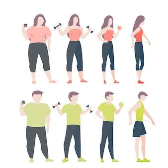 Van vet naar fit concept. vrouw en man met zwaarlijvigheid