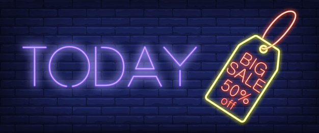 Vandaag het neonreclame van big sale