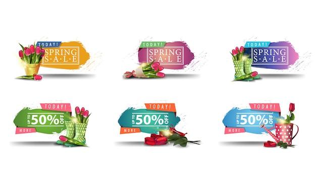 Vandaag, lente verkoop, set van lente korting moderne banners met met haveloze randen