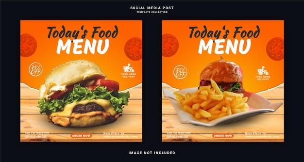 Vandaag menu burger social media post template