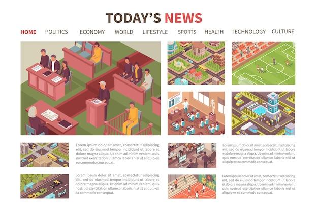 Vandaag nieuws isometrisch gekleurd web bestemmingspagina ontwerp politiek economie sport gezondheid cultuur secties illustratie