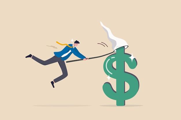 Vang het verdienen van koopjesaandelen, investeringsmogelijkheden met een hoog winstrendement, word rijk door meer geld en inkomensconcept te verdienen, gelukkige zakenmanbelegger die groot dollartekengeld vangt met het net.